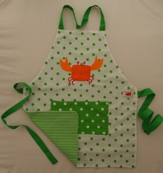 Schürze Kinderschürze Kindergartenschürze grembiule abbigliamento bambini Krebs grün Granchio verde - MarionP