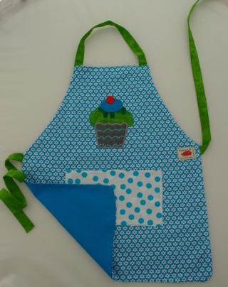 Schürze Kinderschürze Kindergartenschürze grembiule abbigliamento bambini Törtchen cupcake muffin blau blu- MarionP