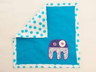 Serviette Stoffserviette Kinderserviette Kindergartenserviette Monster blau tovagliolo mostro blu - MarionP