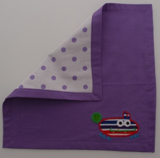 Serviette Stoffserviette Kinderserviette Kindergartenserviette tovagliolo Monster lila Mostro lilla- MarionP - Marion Pramstrahler Giacomuzzi Kinderaccessoires Kindersachen Vilpian Teis Südtirol