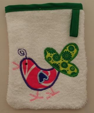 Waschlappen Kinderwaschlappen Babywaschlappen spugna strofinaccio guanto da bagno Vogel grün uccello verde - MarionP