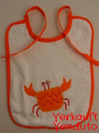Lätzchen Babylätzchen Kinderlätzchen bavaglino bebè tovagliolo Krebs orange Cancro Granchio arancione  - MarionP