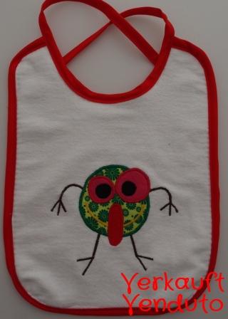 Lätzchen Babylätzchen Kinderlätzchen bavaglino bebè tovagliolo mostro rosso Monster rot - MarionP - Marion Pramstrahler Giacomuzzi Kinderaccessoires Kindersachen Vilpian Teis Südtirol