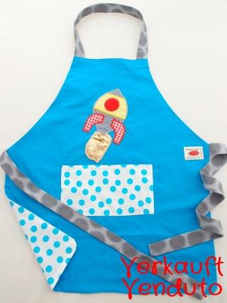 Schürze Kinderschürze Kindergartenschürze Rakete Weltraum blau grembiule abbigliamento bambini razzo blu spazio universo astronauti - MarionP