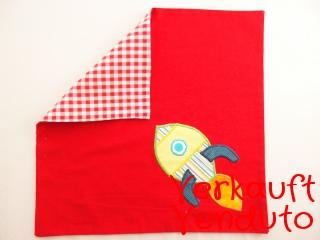 Serviette Stoffserviette Kinderserviette Kindergartenserviette Rakete rot Weltall Astronaut tovagliolo rosso spazio razzo universo astronauta - MarionP