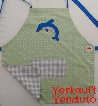 Schürze Kinderschürze Kindergartenschürze grembiule abbigliamento bambini Delfin delfino dolphin - MarionP -  Kinderaccessoires Kindersachen Südtirol