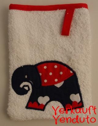 Waschlappen Kinderwaschlappen Babywaschlappen spugna spugnetta strofinaccio guanto da bagno Elefant rot Elefante rosso- MarionP