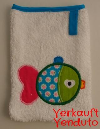 Waschlappen Kinderwaschlappen Babywaschlappen spugna spugnetta strofinaccio guanto da bagno Fisch türkis Pesce turchese  - MarionP